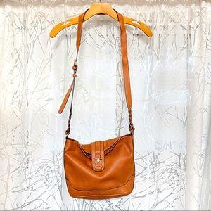 Merona tan gold ring braided strap crossbody purse